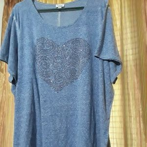 Tops - Heather blue shirt with shiny blue heart.